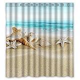 "RELAX Seashell Starfish Soft Sand Blue Sea Waterproof Shower Curtain 66""(w) x 72""(h)"