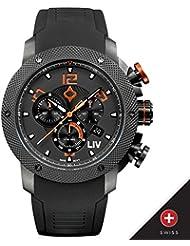 New LIV GX1 Swiss Chronograph Black & Orange Numbers 1210.45.110.SRB200