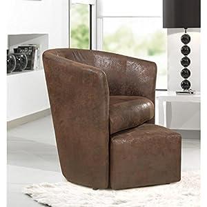 BAYA Fauteuil cabriolet + pouf – Tissu marron vieilli – L 65 x P 57 cm