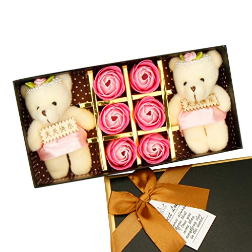 YOcheerful Sales! 6PCS Romantic Rose Soap Flower Gift Box with Plush Animal Toys Bear Doll Gift for Valentine's Day