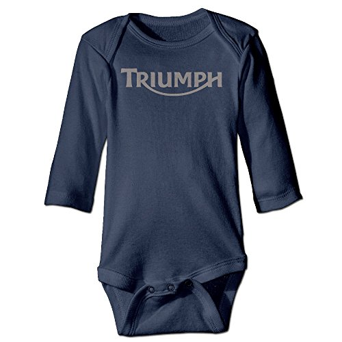 Deamoon Motorcycle Triumph Logo Long Sleeve Jumpsuit Outfits Navy 12 Months