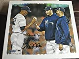 "Autographed Derek Jeter, Mariano Rivera, and Andy Pettitte ""Handing Over Baseball"" 20"" x 24"" Canvas New York Yankee Greats"
