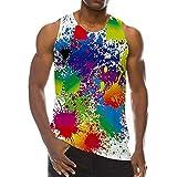 White Tank Top for Men, 3D Graffiti Print Sleeveless Muscle Art Shirt Beach Holiday Shirt Summer Masculinous Sweatshirt