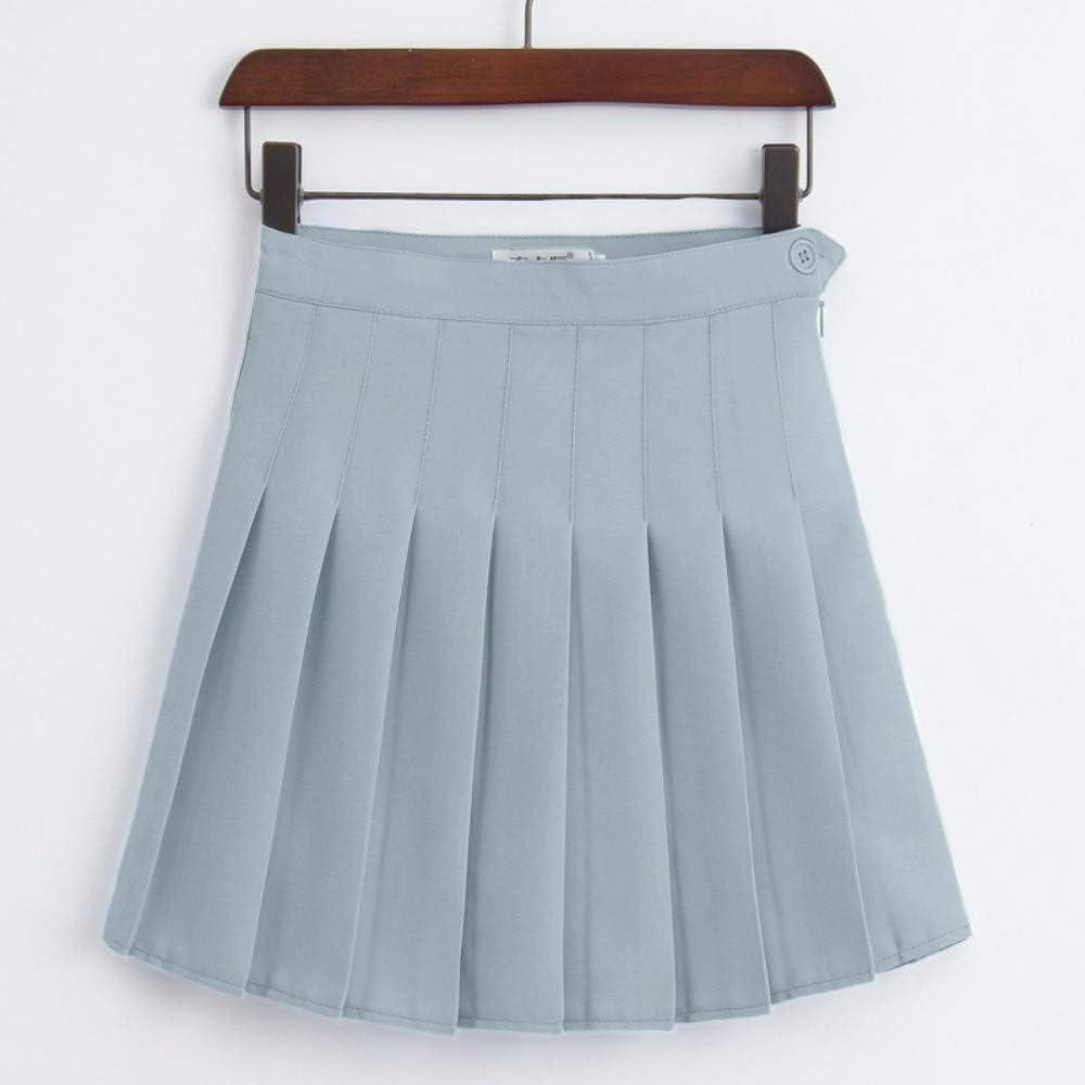 HEHEAB Falda,La Primavera Y El Verano Gris Mujeres Coreanas De Cintura Alta Falda Plisada Mini Tenis Niñas Falda Falda Falda Corta La Escuela Cuero Cosplay