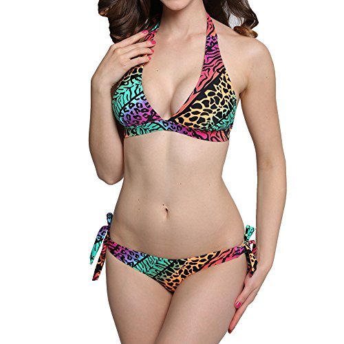 NEOSAN Halter Triangle Padded Top Bikini Set Swimwear Swimsuit Leopard L