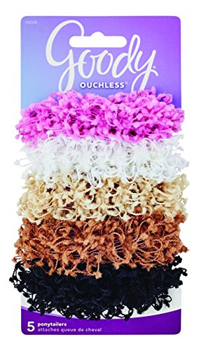 Goody Ouchless Hair Scrunchie, Chenille and Cotton, 5 Count