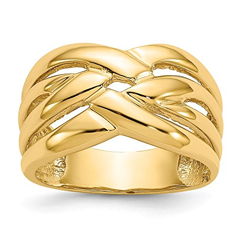 (14k Yellow Gold Woven Dome Band Ring Size 7.00 Fine Jewelry Gifts For Women For Her)