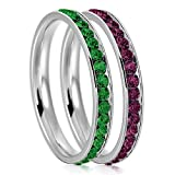 3mm Stainless Steel Eternity Emerald & Amethyst Color Crystal Stackable Wedding Band Rings (2 pieces) Set, Size 7