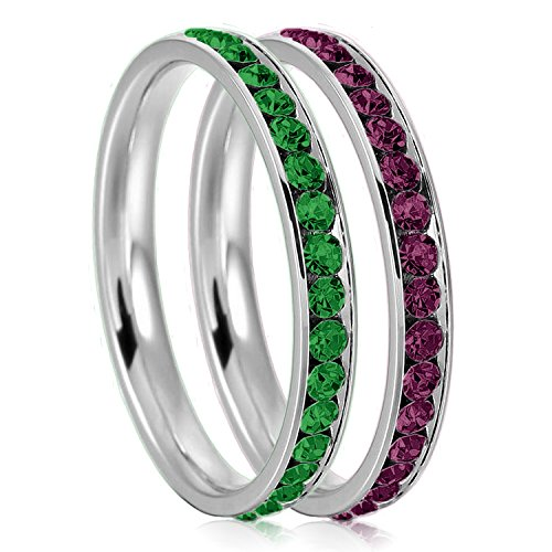 3mm Stainless Steel Eternity Emerald & Amethyst Color Crystal Stackable Wedding Band Rings (2 pieces) Set, Size 8