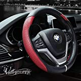 Valleycomfy Steering Wheel Cover with Microfiber Leather for Car Truck SUV 15 inch (Red): more info