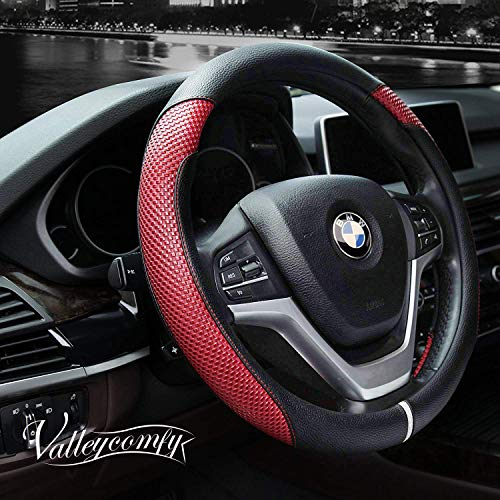 Valleycomfy Steering Wheel Cover with Microfiber Leather for Car Truck SUV 15 inch (Style-Red) (Mustang Accessories 2013)