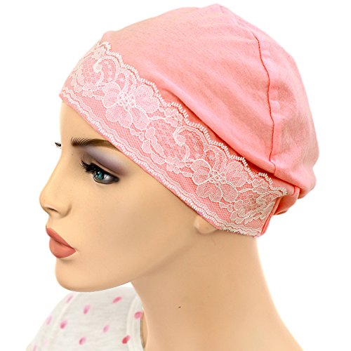 Pink Lace Hat - Hats for You Women's Night Chemo Cap with Lace Detail, Pink, One Size