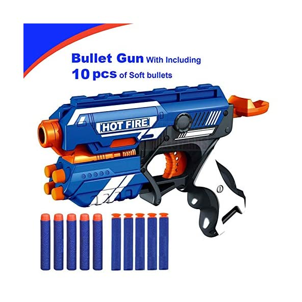 home buy Toys Blaze Storm Hot Fire Shooting Gun Toy with 10 Soft Foam Bullets for Kids