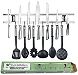ECO KITCHEN 18 Inch Magnetic Knife Holder, Easy Wall Mount for Organizing Knives, Utensils and Cooking Sets. Magnetic Knife Strip Includes 6 Stainless Steel Hooks and Screws. Save Kitchen Space Now!