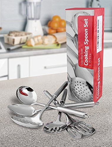Large Product Image of Stainless Steel 5 Pieces Cooking Spoon Set - By Utopia Kitchen