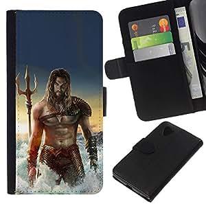 All Phone Most Case / Oferta Especial Cáscara Funda de cuero Monedero Cubierta de proteccion Caso / Wallet Case for LG Nexus 5 D820 D821 // sexy man músculos abdominales del mar Poseidón