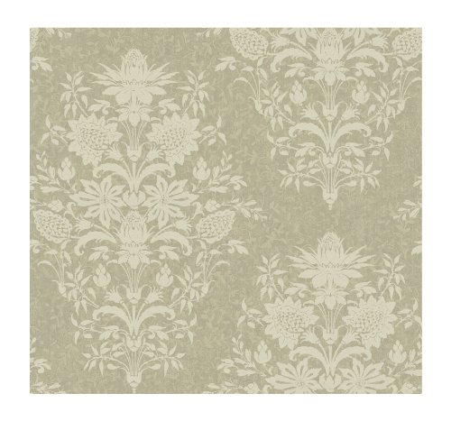 (York Wallcoverings DC1378 Iridescent Small Scrolling Vine Wallpaper, Taupe)