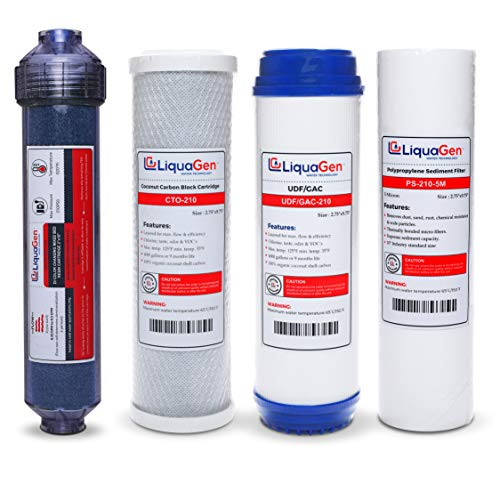 (LiquaGen - 5 Stage RO/DI Yearly Replacement Filter Kit - Pre Filters with Inline Deionization - Stage 1,2,3,5)