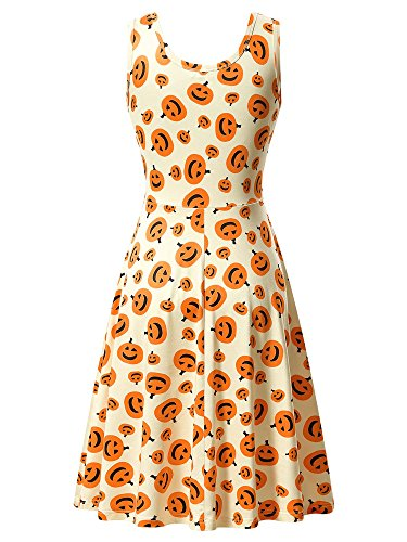 HUHOT Halloween Dress, Womens Sleeveless Round Neck A Line Pumpkin Midi Dress Large 17039-5]()