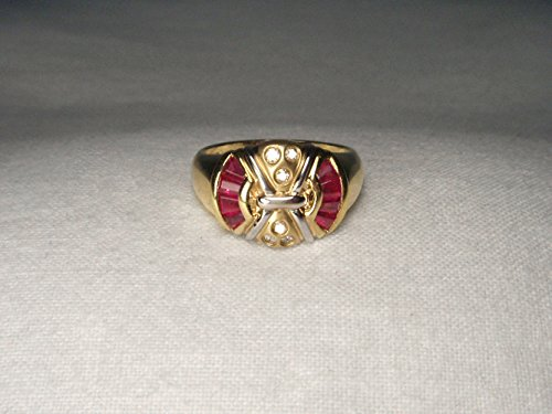Gorgeous Estate 14K Yellow Gold Designer Diamond Ruby Mosaic Band Ring 14k Yellow Gold Mosaic