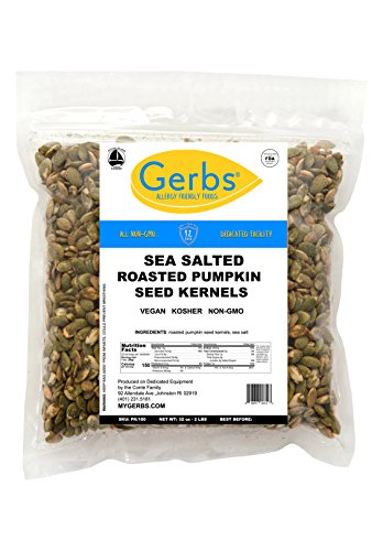 Roasted Salted Butter - Sea Salted Pumpkin Seed Kernels, 2 LBS by Gerbs – Top 12 Food Allergy Free & NON GMO - Vegan & Kosher - Dry Roasted Premium Quality Seeds Grown in Mexico