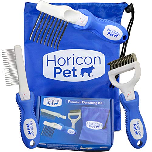 Horicon Pet Premium Dog Dematting Kit Dematting Comb, Dematting Razor and Detangler Comb All in One