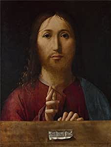 high quality polyster Canvas ,the High Definition Art Decorative Prints on Canvas of oil painting 'Antonello da Messina Christ Blessing ', 8 x 11 inch / 20 x 27 cm is best for Home Office decoration and Home decor and Gifts