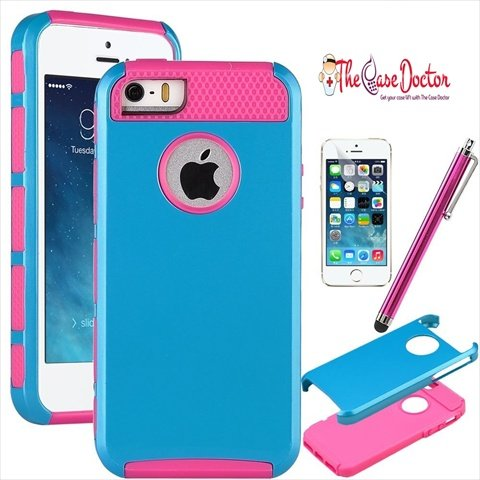 TCD for Apple iPhone 5 5S [SKY BLUE ON PINK] Hybrid Rugged Protective Defender Series Combo Case Cover Multiple Layers Shock Ultimate Protection [Includes FREE SCREEN PROTECTOR AND STYLUS PEN]