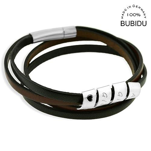 Herrenarmband mit Gravur schwarz braun Leder Männer Armband