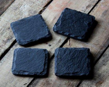 Organic Home Square Stone Slate Coasters (Black) Price & Reviews