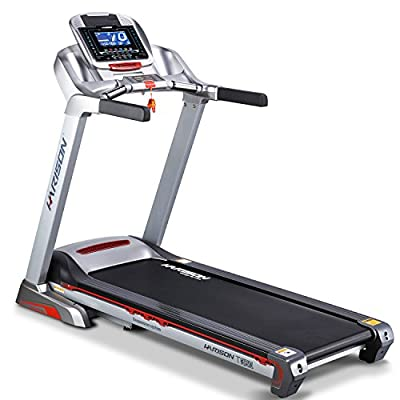 HARISON Electric Folding Treadmill Motorized Power Portable Gym Fitness Machine,Automation 0-15% Incline,Easy Handrail Controls & Preset Button Speeds,Soft Drop System by