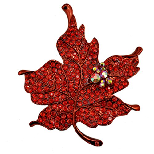 Pin Up Costume Diy (DIMORRY Multi Color Crystal Rhinestone Maple Leaf Brooch Pin Plant Costume Jewelry Women Red)