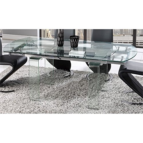 Global Furniture D2160DT Dining Table, Clear Glass by Global Furniture USA
