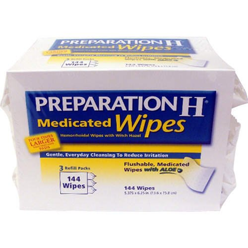 144 Wipes Preparation H Medicated Wipes Refill with Aloe – 3 packs of 48 Wipes, Health Care Stuffs