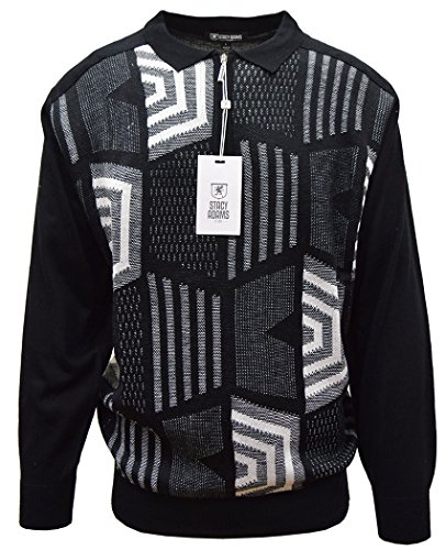 STACY ADAMS Men's Sweater, Honeycomb Jacquard Design (Large, Black)