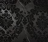 "Taffeta Damask Flocking Fabric 04 BLACK GRAY Backing / 58"" Wide / Sold by the Yard offers"
