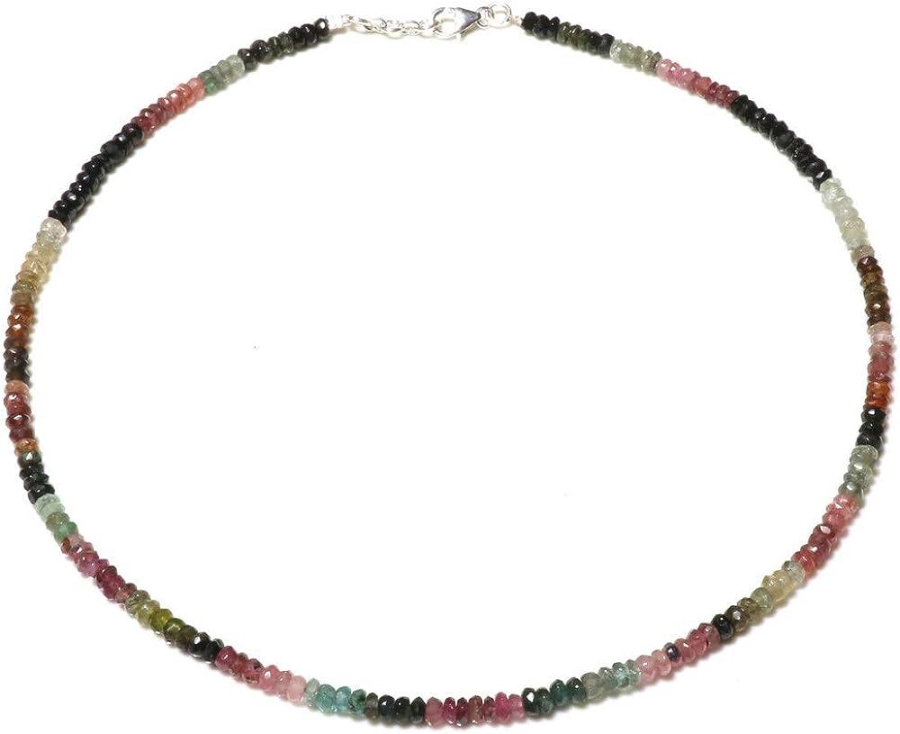 TIBETAN SILVER Natural Turmalina Multi Color Piedra Preciosa 18