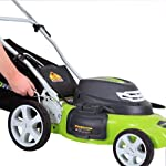 Greenworks g-max 40v 20-inch cordless 3-in-1 lawn mower with smart cut technology, (1) 4ah battery and charger included mo40l410 19 includes (1) max capacity 4 ah - 40v lithium battery , cutting heights - 5 position durable 20'' steel deck lets you mulch, bag, or side discharge allowing you to maintain your yard the way you want it. This lawn mower is not self-propelled innovative smart cut technology automatically increases the speed of the blade when more power is needed