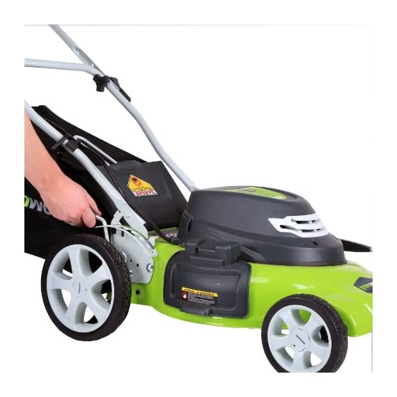 Greenworks g-max 40v 20-inch cordless 3-in-1 lawn mower with smart cut technology, (1) 4ah battery and charger included mo40l410 2 includes (1) max capacity 4 ah - 40v lithium battery , cutting heights - 5 position durable 20'' steel deck lets you mulch, bag, or side discharge allowing you to maintain your yard the way you want it. This lawn mower is not self-propelled innovative smart cut technology automatically increases the speed of the blade when more power is needed