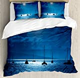 Ocean Duvet Cover Set King Size by Ambesonne, Dramatic Photo of A Nighttime Sky Full Moon over A Calm Ocean Scene in Maui Hawaii, Decorative 3 Piece Bedding Set with 2 Pillow Shams, Navy White
