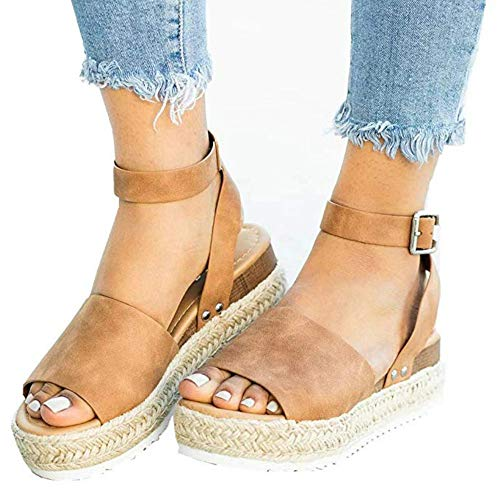 de3ecc9865 Womens Open Toe Espadrille Ankle Strap Boho Lace Up Rivet Flatform Sandals  (38 EU-