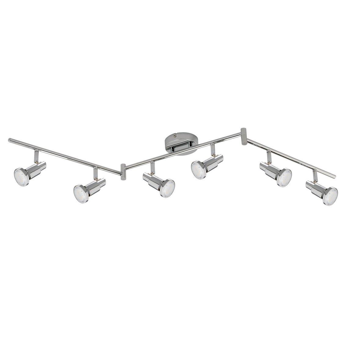 Trango 6-flamme Plafonnier à LED réglable TG2991-068SD 6 ampoules GU10 LED à gradation variable, 3 ampoules 3000K blanc chaud, y compris 6 ampoules Spots, lampe de salon
