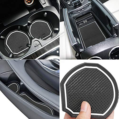 Auovo Anti Dust Mats for Mercedes-Benz C-Class C300 Sedan Coupe 2015-2019 Custom Fit Door Compartment Liners Cup Holder Console Liners Interior Accessories(8pcs/Set) (White, Glow in Dark)