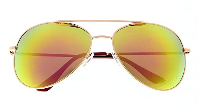 d8597357acc Image Unavailable. Image not available for. Color  Classic Aviator  Sunglasses Mirrored Red Fire Lens Gold Frame