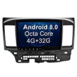 SYGAV Android 8.0 Oreo Car Stereo 8 Core 4G Ram GPS Navigation Head Unit Radio for 2008-2017 Mitsubishi Lancer EVO X without OEM Rockford Fosgate Amplifier