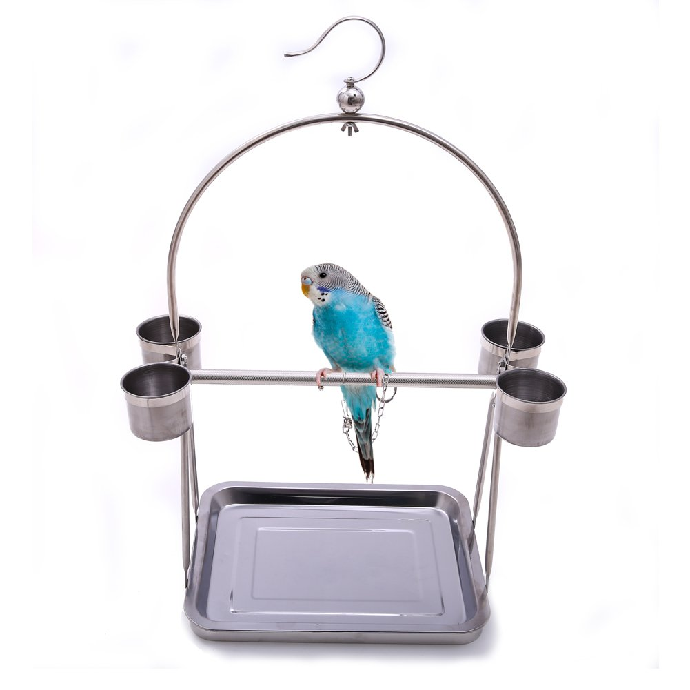 QBLEEV Stainless Steel Parrot Bird Perch Stand with Hook and Food Bowls, Tabletop Platform Playground or Hanging Play Gym Playstand for Macaw African Grey Budgies Parakeet Conure