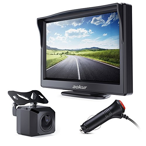 Aokur Backup Camera Kit With 5'' TFT LCD Monitor IP68 Waterproof Starlight Night Vision Camera for Universal Car Trucks License Plate Rear View Camera Parking Assistance System Wired 120° Wide (Park Parking Assistance System)