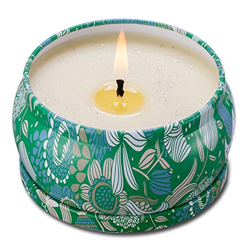 (Soy Wax Scented Candle, 4.5 Ounce - Blends to Tea Tree and Peppermint - A Sparkling Refreshing Tin Candle, Long Lasting - Stress Relief - Bath Item - Sweet Gift)
