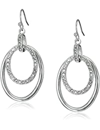 T Tahari Oval Pave Links On Wire Drop Earrings