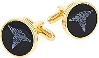 product image for JJ Weston Onyx Etched Caduceus Doctor Cufflinks. Made in the USA.